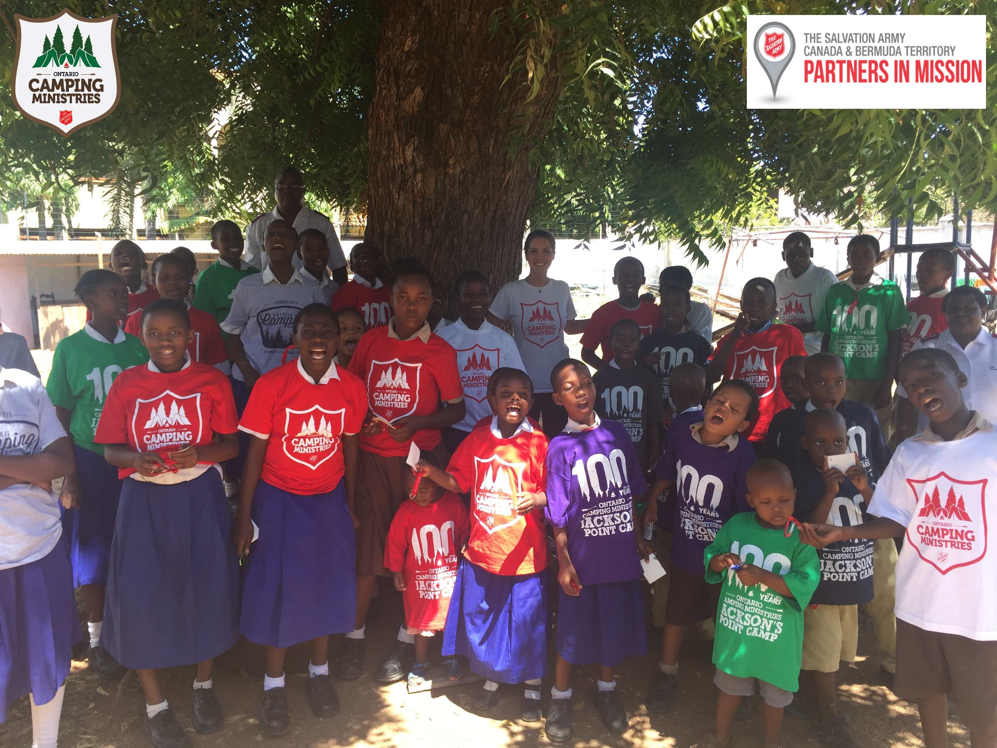 Children at the Mombasa Childrens Home sporting their Ontario Camping Ministries T-shirts