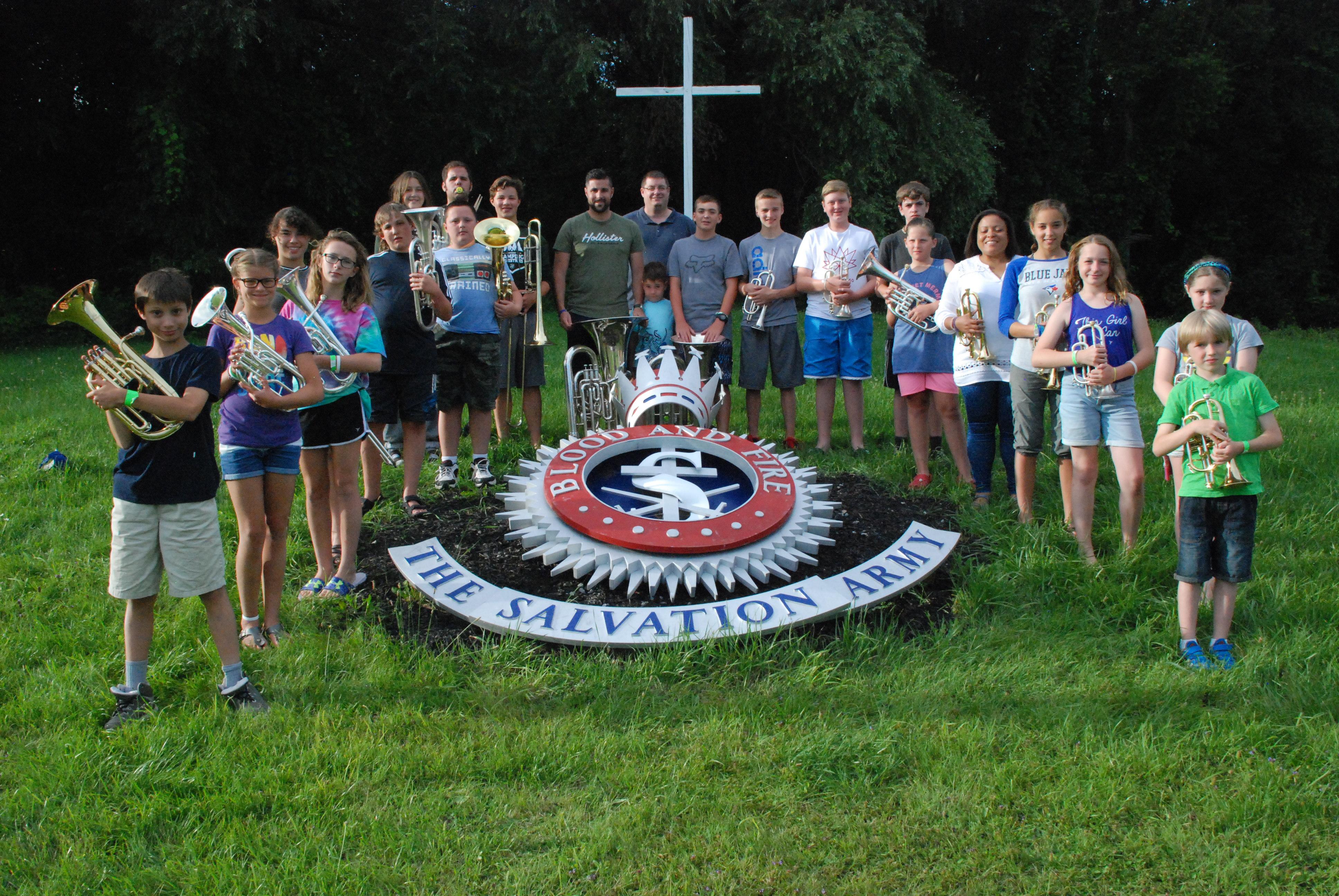 Campers near cross