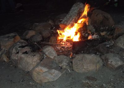 Campfire in stone fire pit