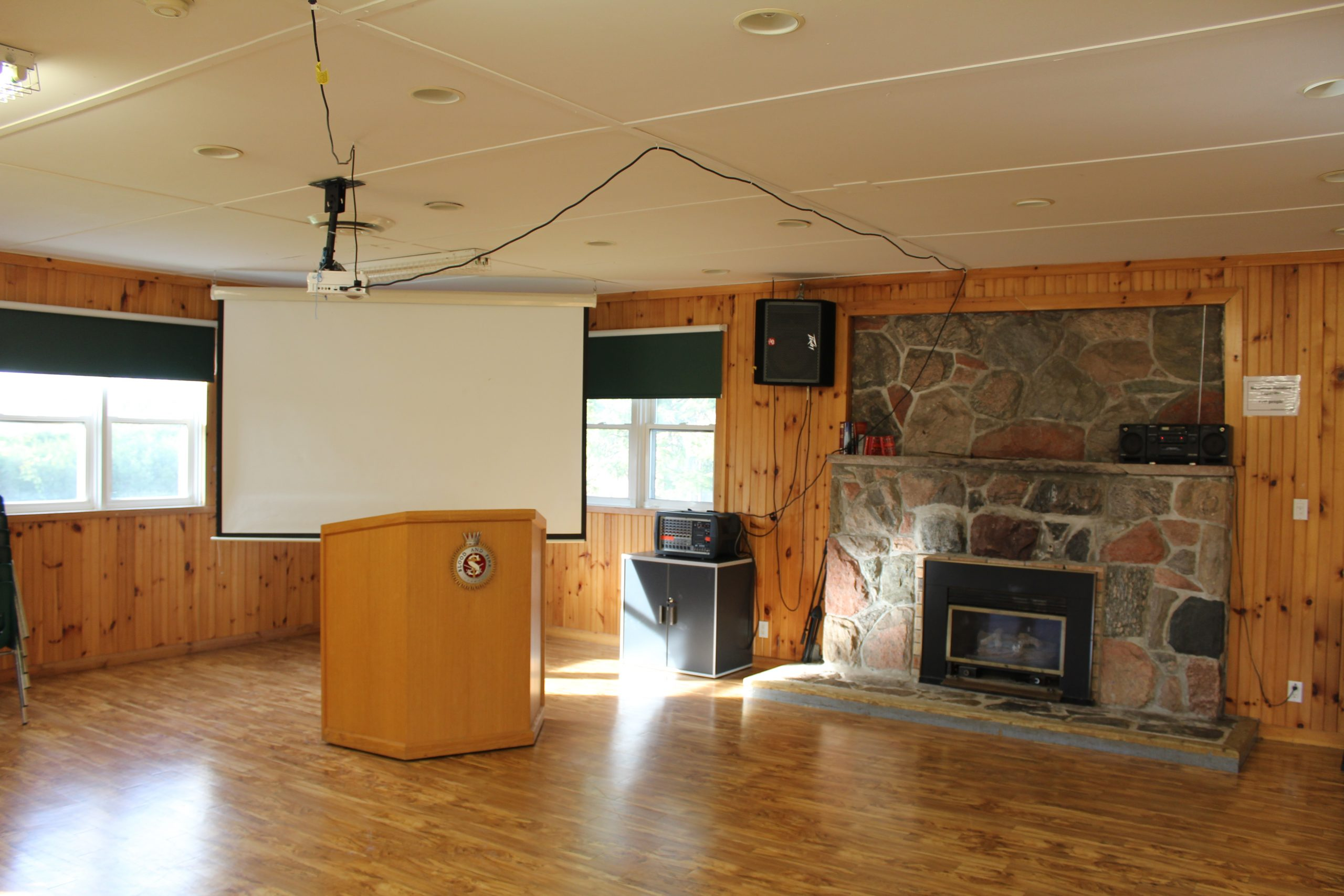 Rondeau Hall Interior Fireplace and Projector Screen