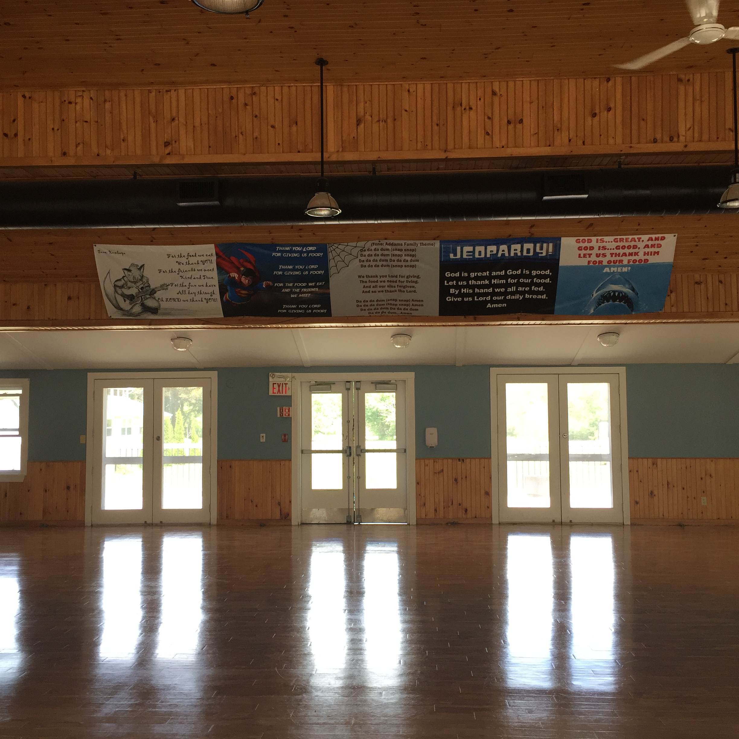 Photo of the Interior of the Jackson's Point Dining Hall Side Doors