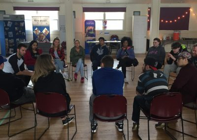 Teens Gathered in a circle of chairs for a small group discussion