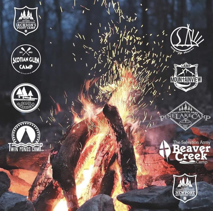 Camp fire with Camp Logos